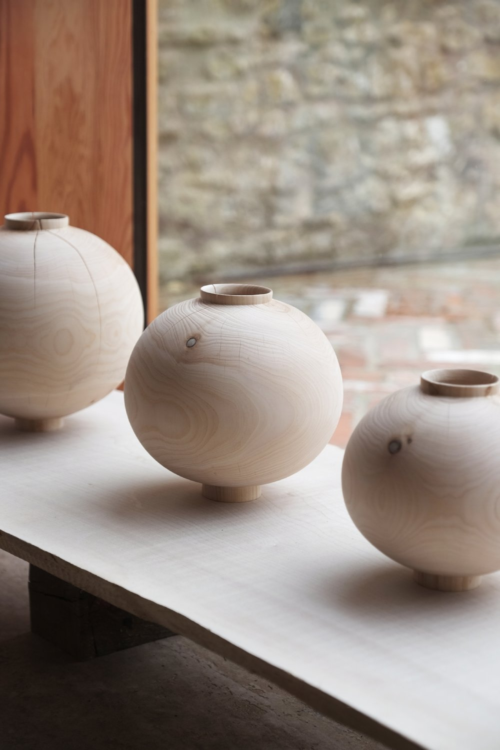Cracked Moon Jars  | cedar wood | 2018   Installation View, Realising Landscape, The Space, Caro, Bruton