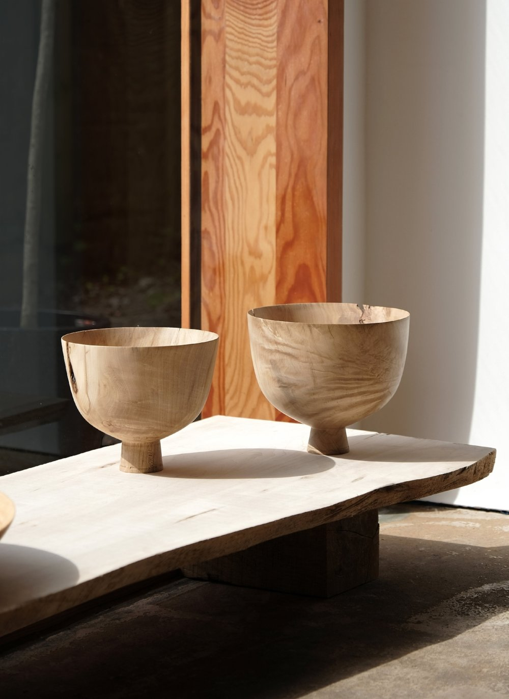 Tenanted Sycamore Vessels  | spalted sycamore wood | 2018   Installation View, Realising Landscape, The Space, Caro, Bruton