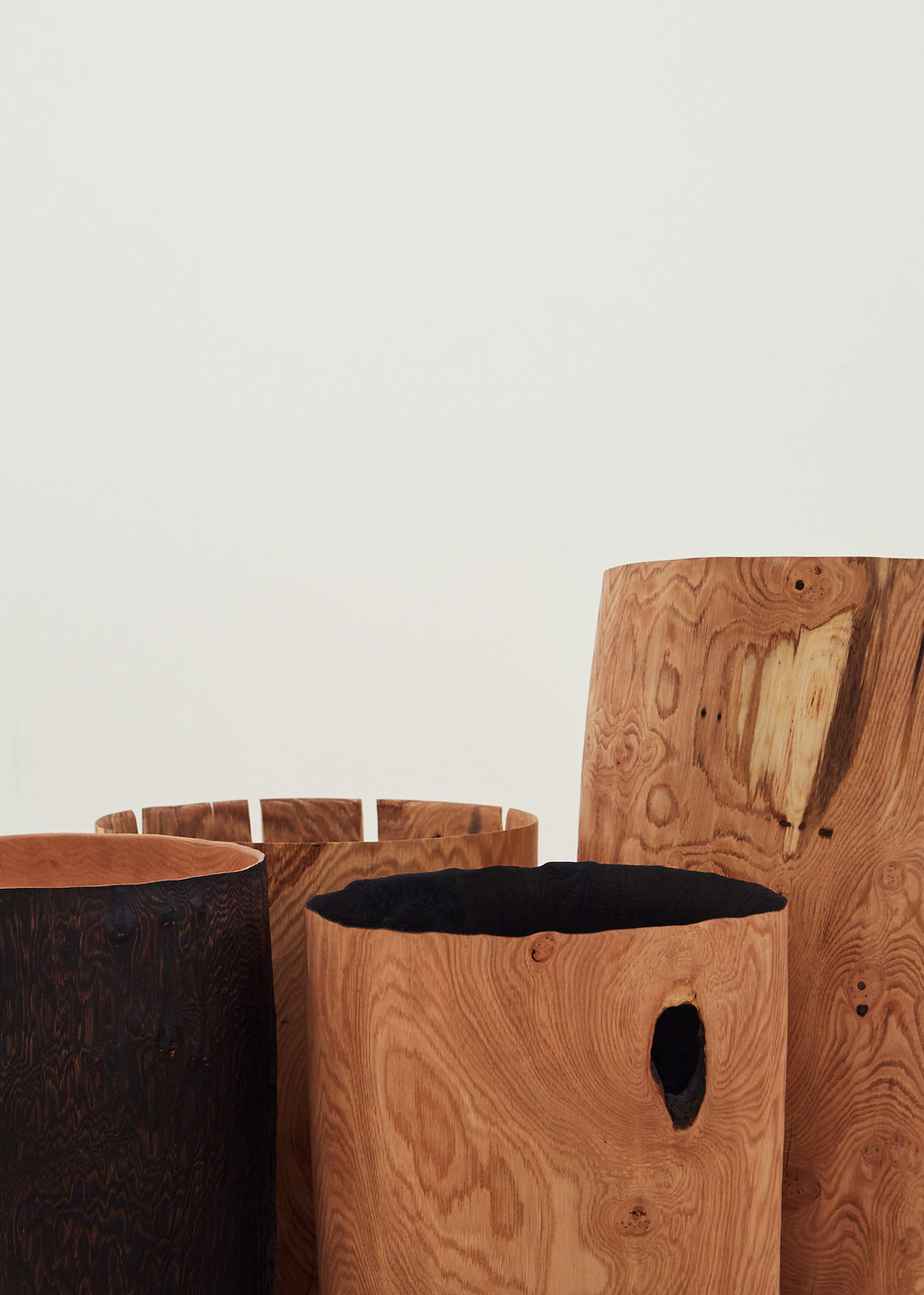 Burnt, Fallen, Hollowed and Hewn Vessels (detail)  | green oak and sweet chestnut, 2018  Installation View: Collect Open, Saatchi Gallery, London | Image by Yeshen Venema