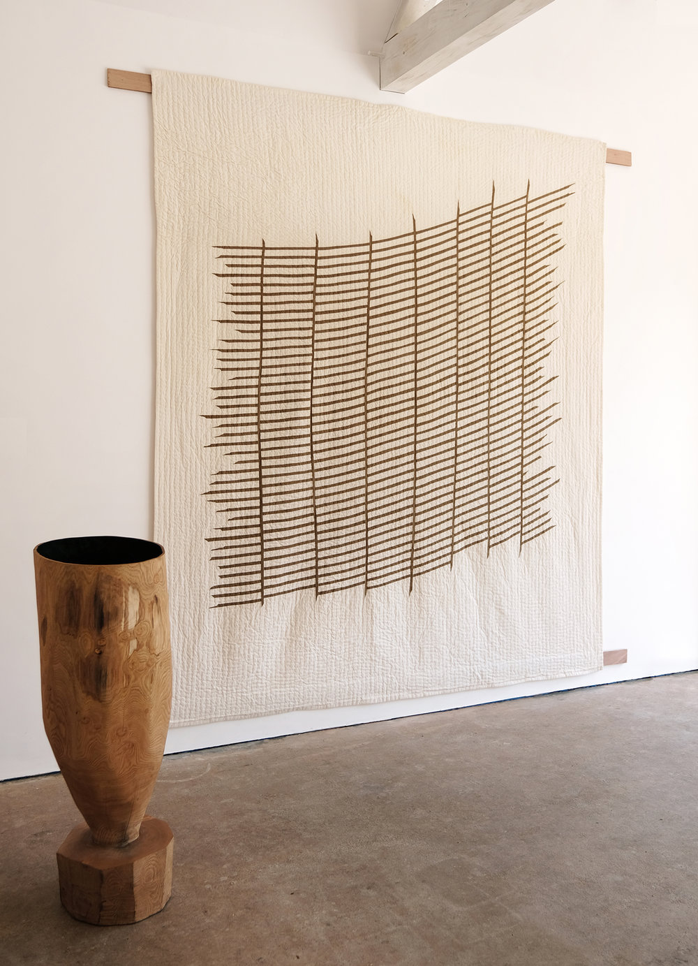 Fugitive  | oxidised mulberry, ferrous oxide, thread, calico, 237cm x 205cm, 2018  Installation View: Realising Landscape, The Space at CARO