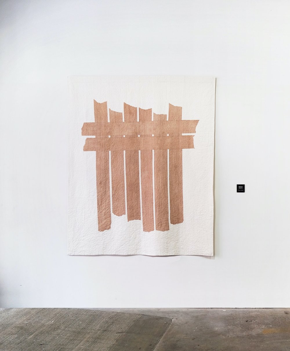 Blushed Bars (left)  | Artist: Abigail Booth /  Copperwork Quilt (right)  | Artist: Lesley Gold  Installation View: Piecework Collective, New York, 2017