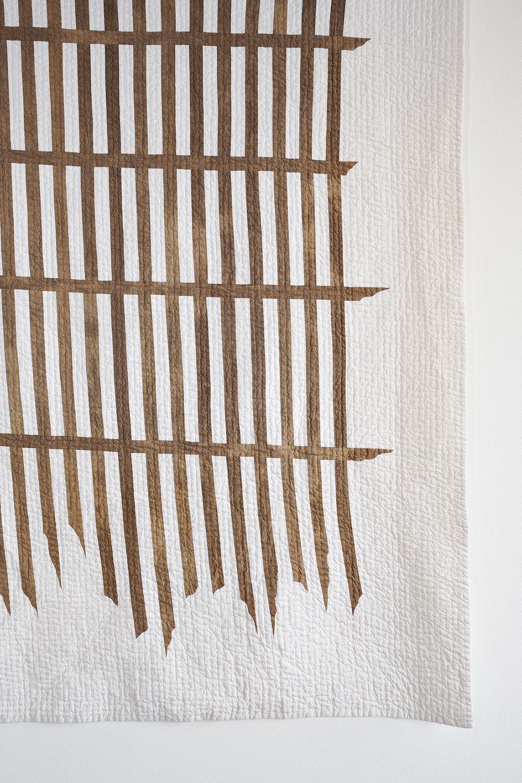 Stranded (detail)  | wood tannin, ground iron clay, thread, calico, 210cm x 157cm, 2017