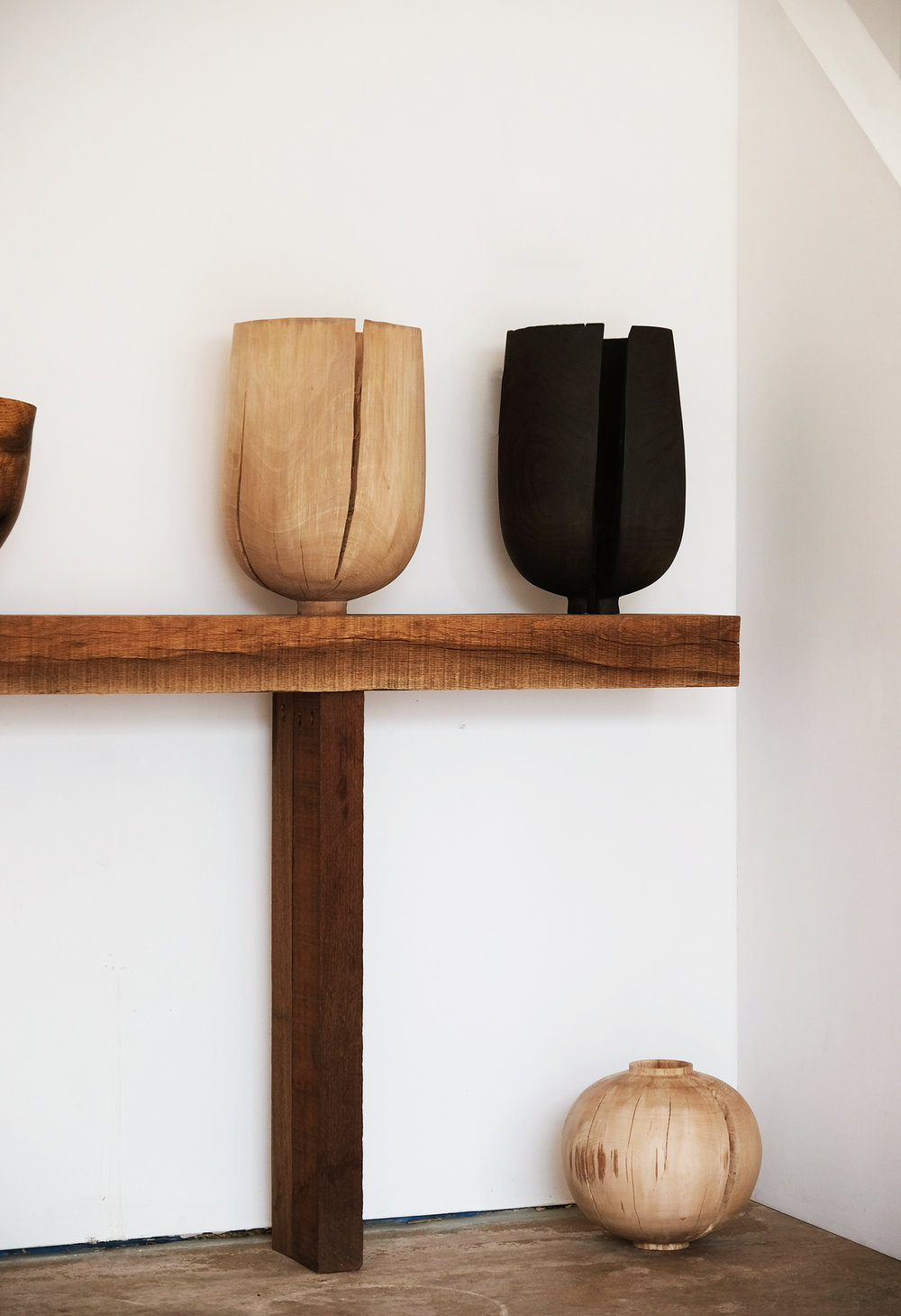 Split Beech Crucibles, Cracked Moon Jar | fresh beech wood, 2018  Installation View: Realising Landscape, The Space at Caro, Bruton
