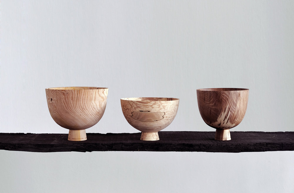 Tenanted Bowls | sweet chestnut, spalted beech, English walnut, 2017