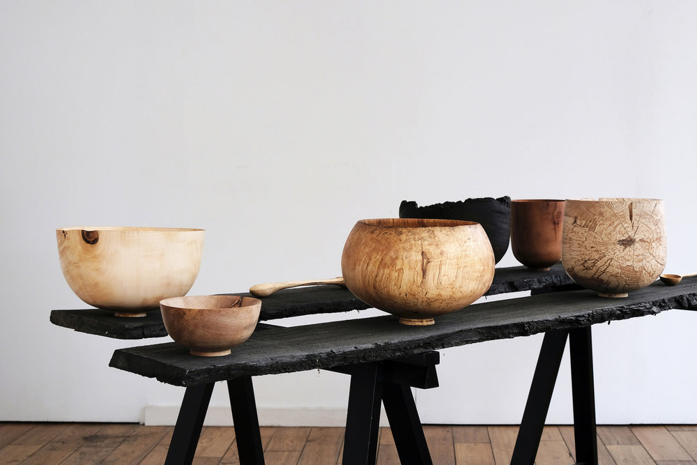 Grouped Vessels  | mixed british hardwoods, 2017  Installation View: Unearthed, London Craft Week, London