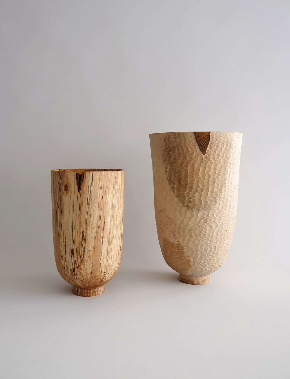 Birch and Pear Standing Vessels | spalted birch, pear, 2016