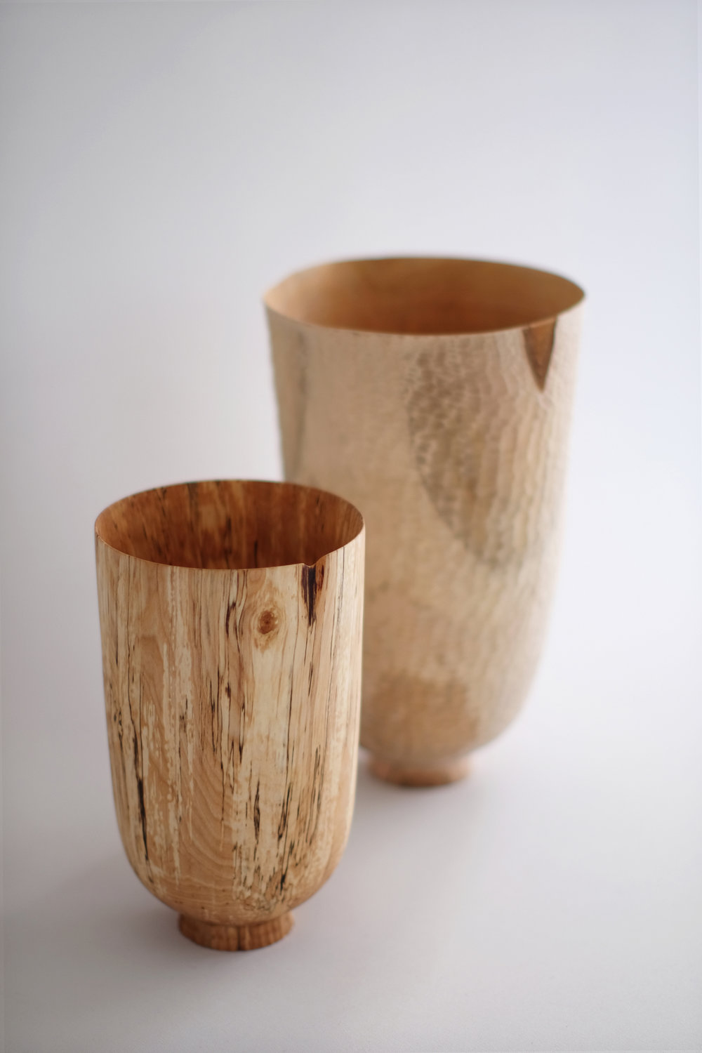 Birch and Pear Standing Vessels (detail) | spalted birch, pear, 2016
