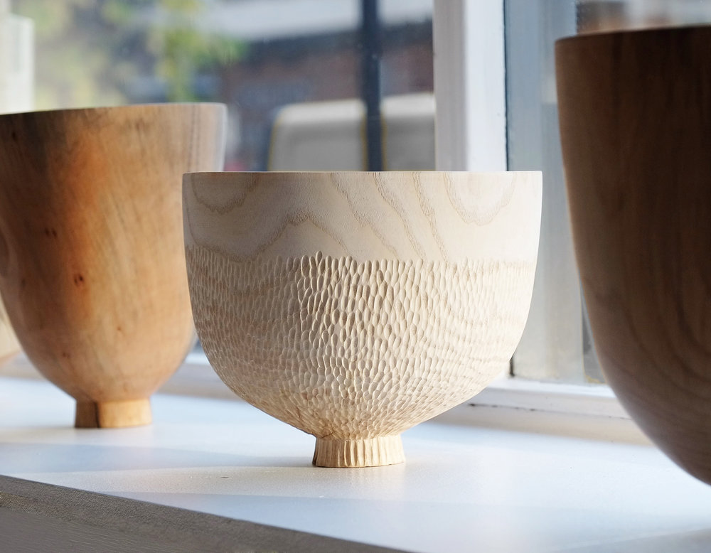 Grouped Vessels  | mixed british hardwoods, 2016  Installation View: Showcase, Craft Central, London