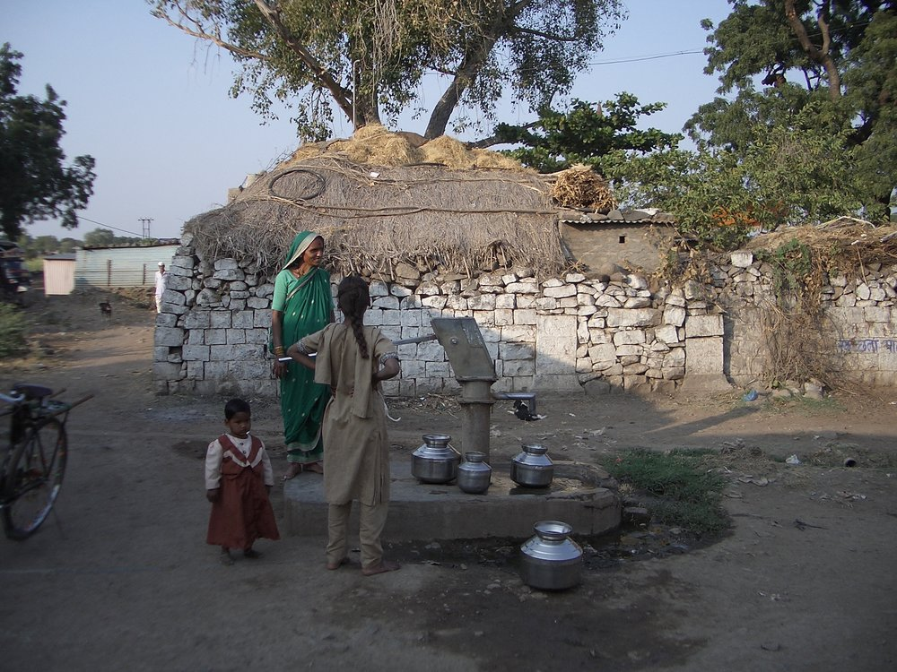 A well built by CRHP in the middle of a village of people from a lower caste.  Having the well positioned here meant people from higher castes were forced to mingle