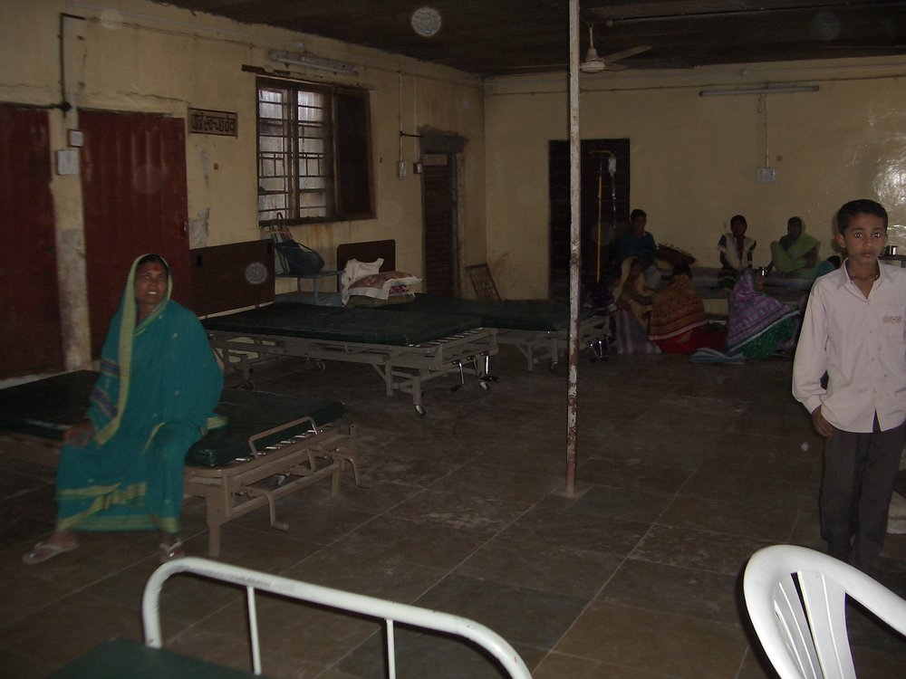 A hospital wards. People supply their own bedding, food and materials like dressings or catheters.