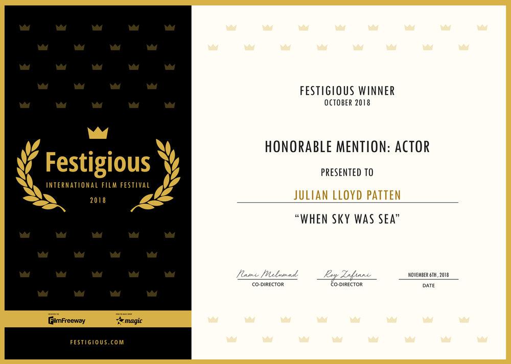Festigious International Film Festival (2018) - Best Actor (Honorable Mention)