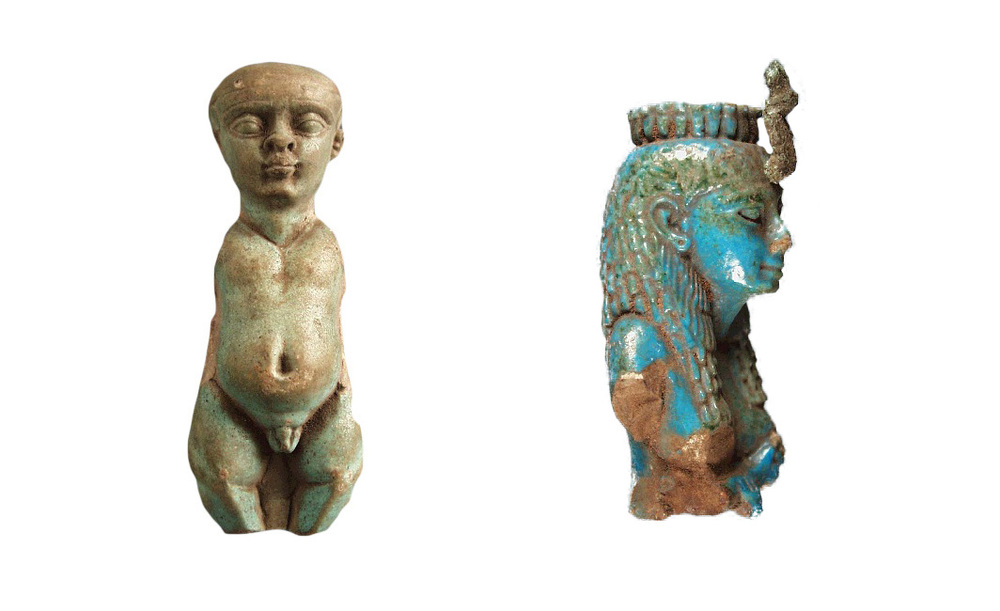 Figure 3. Fine faience figurine of the god Ptah, in the form of a dwarf and faience figurine of the goddess Isis (National History Museum of Ireland)