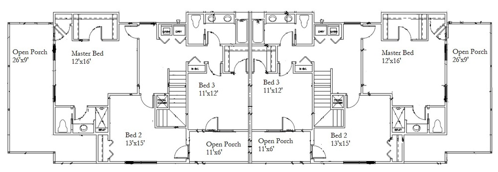 Second Level Floor Plan (both sides)