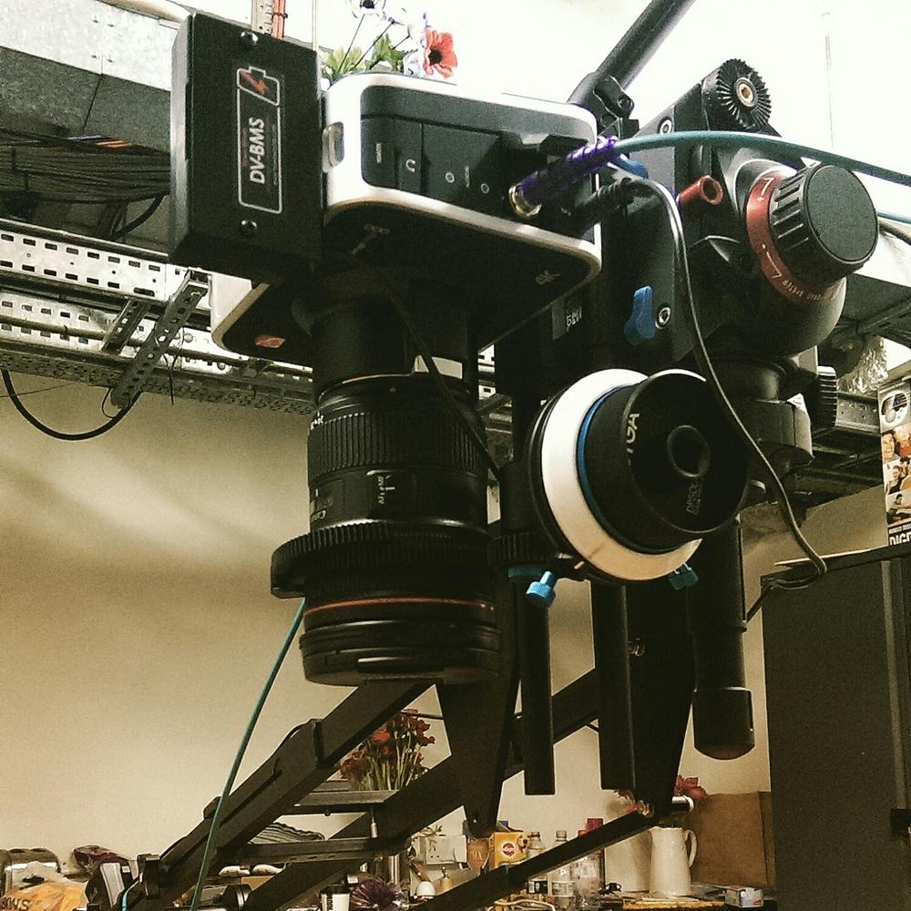 Birds eye setup with the Blackmagic 4k production camera