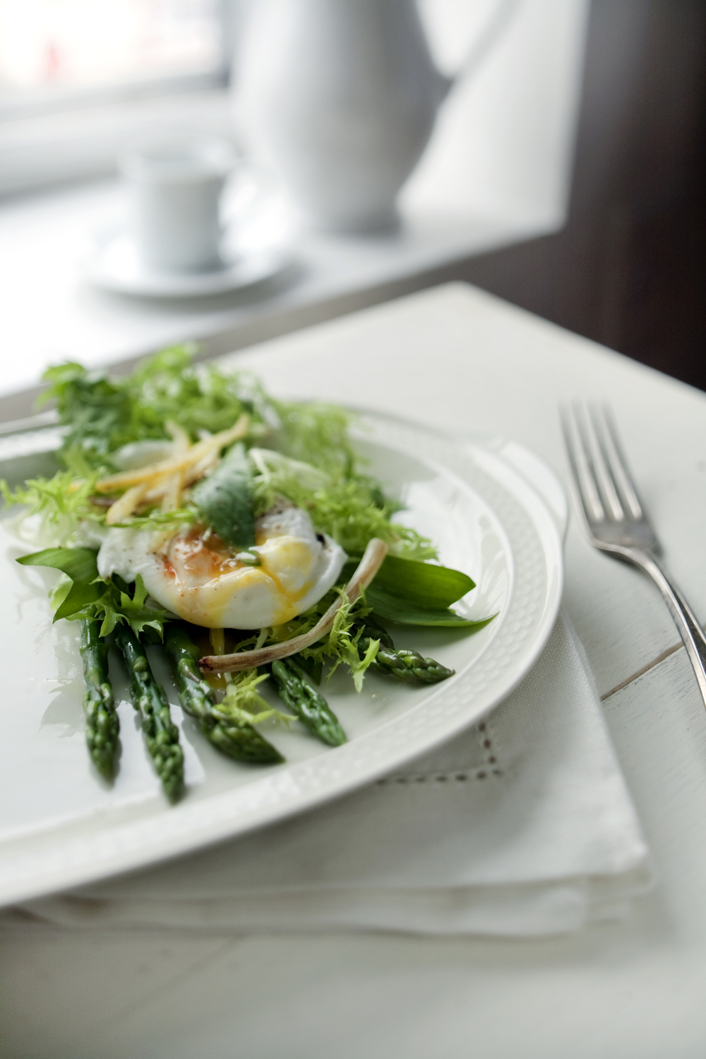 Poached Egg, Ramp Greens, Lemon Zest Vinaigrette