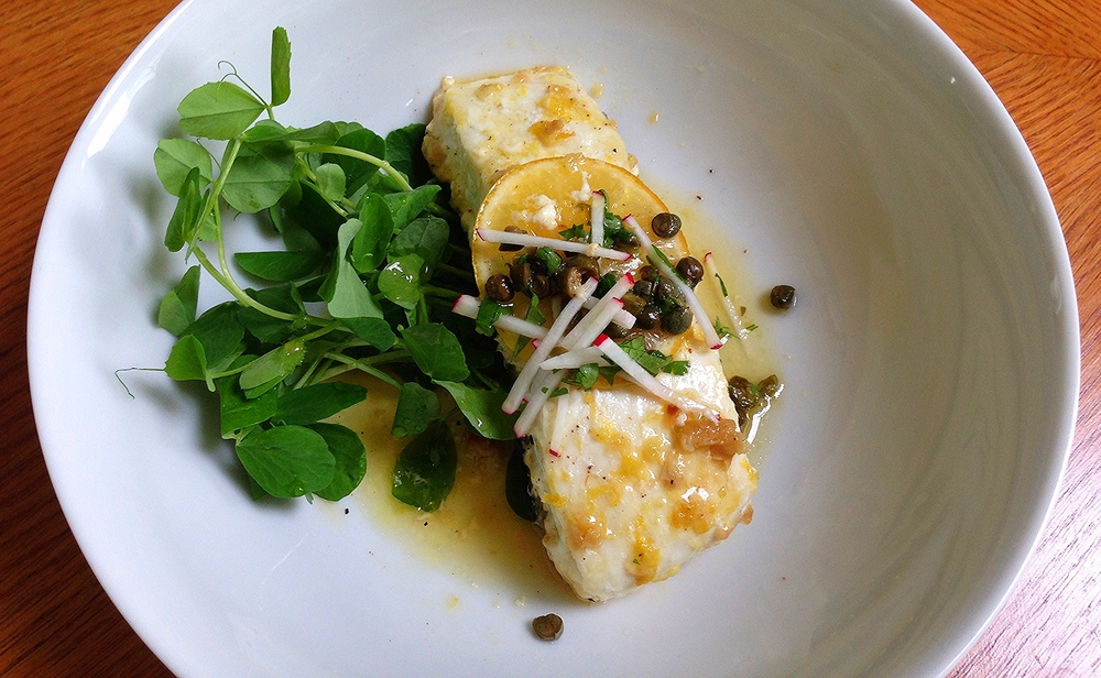 Halibut with Pea Shoots and Capers