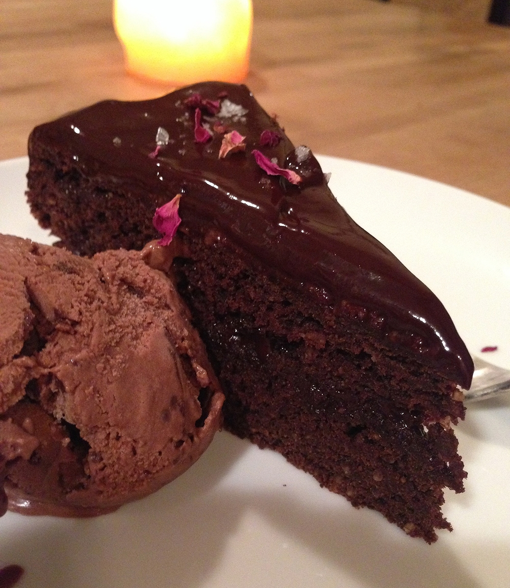 Chocolate Cake with Rose Petals and Ice Cream