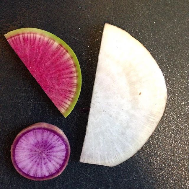 Radishes!  Black (the white one), purple, and watermelon.  Get at the Greenmarket for a couple more weeks before they're out of season!  #foodwithmelinda #glutenfree #personalchef #catering #glutenfree #vegan #seasonal #local #greenmarketnyc #radishes #nutsandboltsbrooklyn