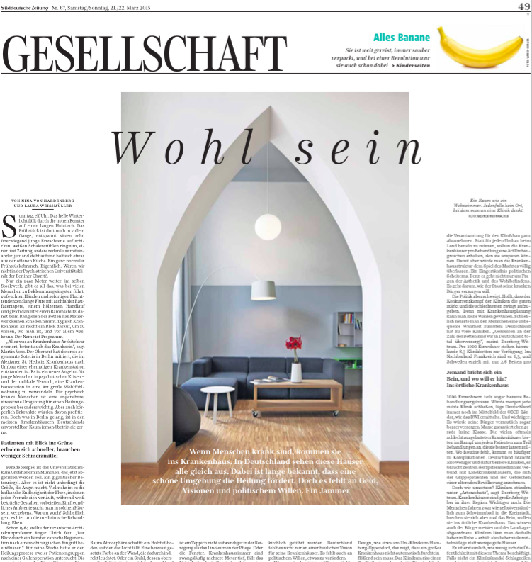 """Süddeutsche Zeitung -Gesellschaft vom 21.03.15, """"Wohl sein,"""" von Nina von Hardenberg und Laura Weißmüller"""