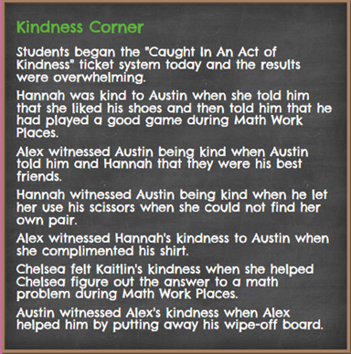 "A class ""Kindness Corner"" listed on a C4C project page"