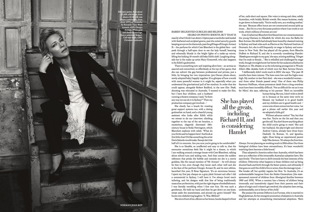 Cate Blanchett Cover Story for Harper's Bazaar, styled by Charlie Harrington. Spread 2.