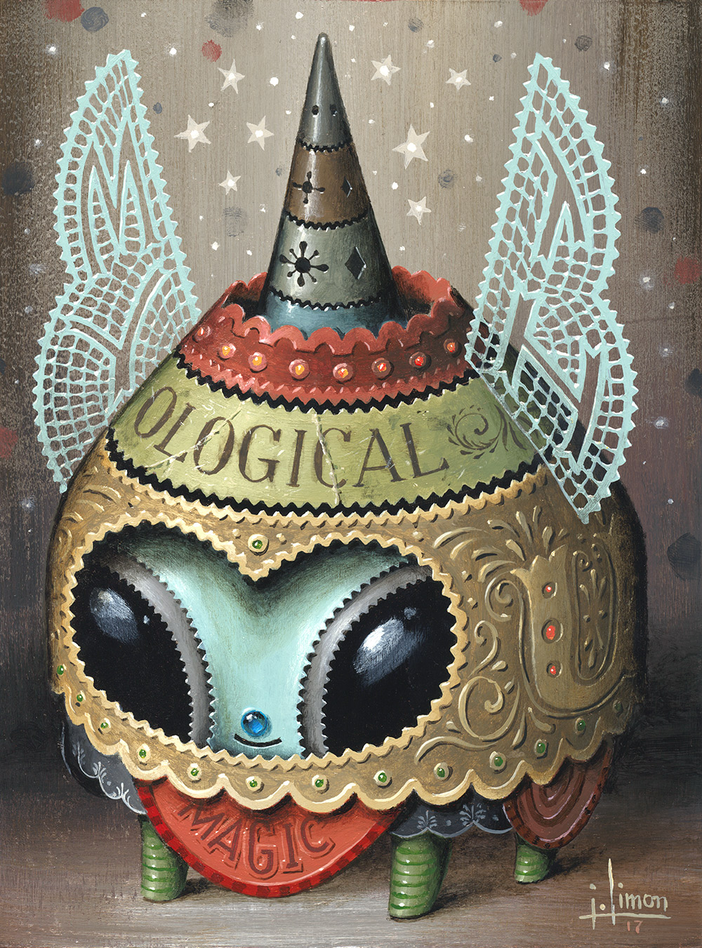 "Mythological , 6"" x 8"", Acrylic on Panel, Available at  Nucleus Portland"