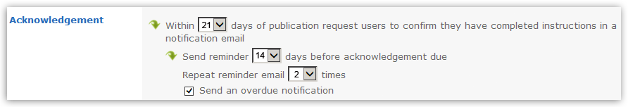 The image above shows the Reading Category and how long after a New or Updated document is expected to be acknowledged by the user. Optional values include a reminder and how many times a reminder should be sent.