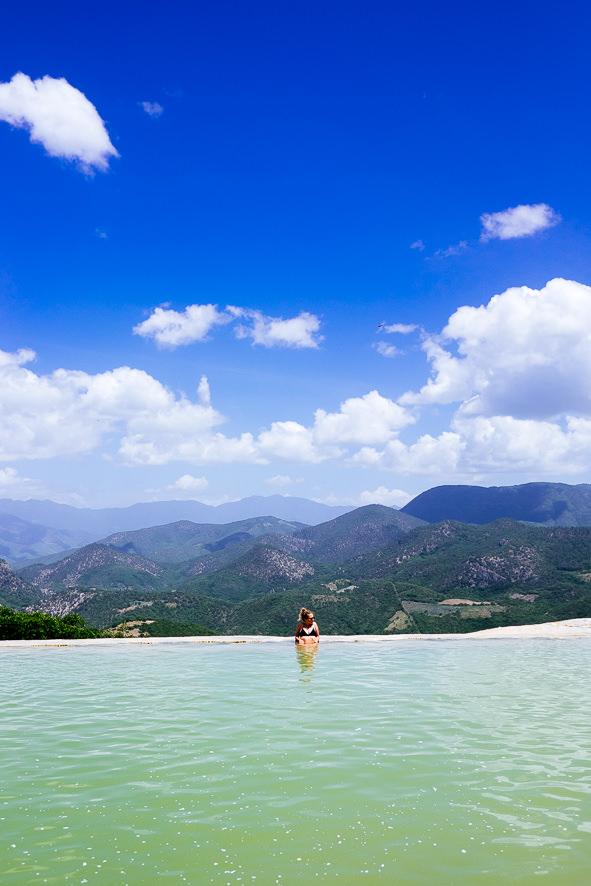 Emily enjoying the natural infinity pool