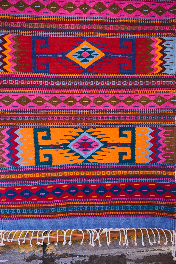 MEXICAN ZAPOTECA WOOL RUG (GEOMETRIC RED)   STATUS: AVAILABLE TO ORDER