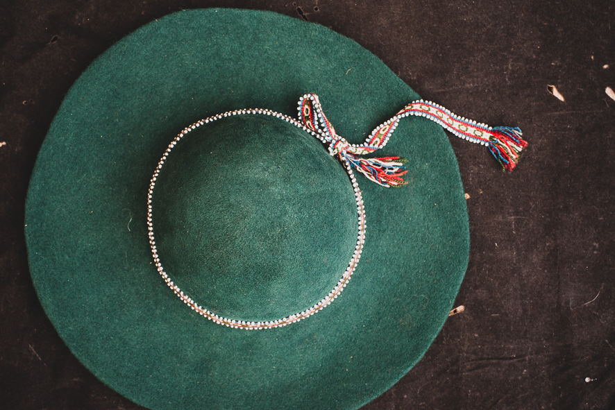 PERUVIAN FELT HAT WITH BEADED BAND   STATUS: IN STOCK