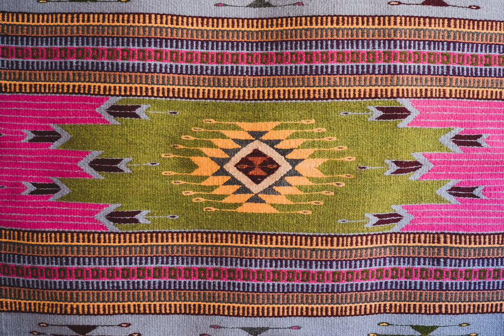 MEXICAN ZAPOTECA WOOL RUG (GEOMETIC PINK )   STATUS: AVAILABLE TO ORDER