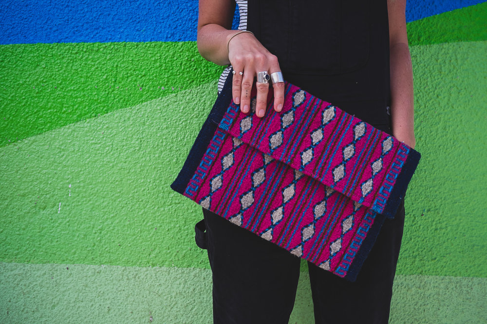 MEXICAN ZAPOTECA WOOL CLUTCH   STATUS: IN STOCK