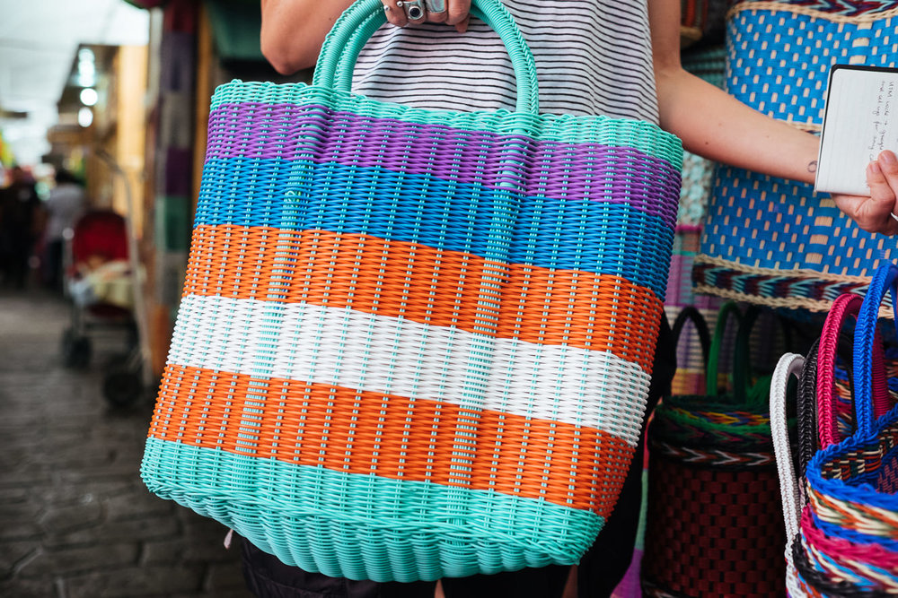 MEXICAN WOVEN PLASTIC BASKET   STATUS: AVAILABLE TO ORDER