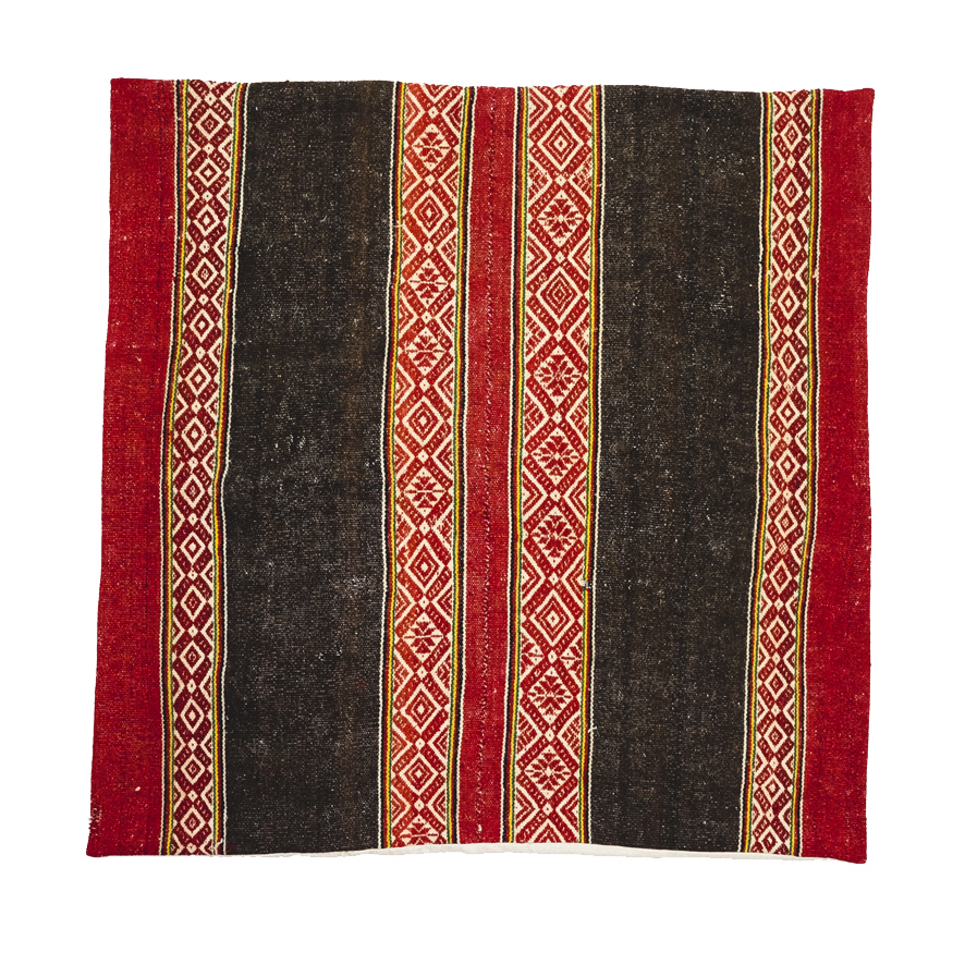BOLIVIAN FLOOR CUSHION (CHARCOAL/RED)   STATUS: SOLD OUT