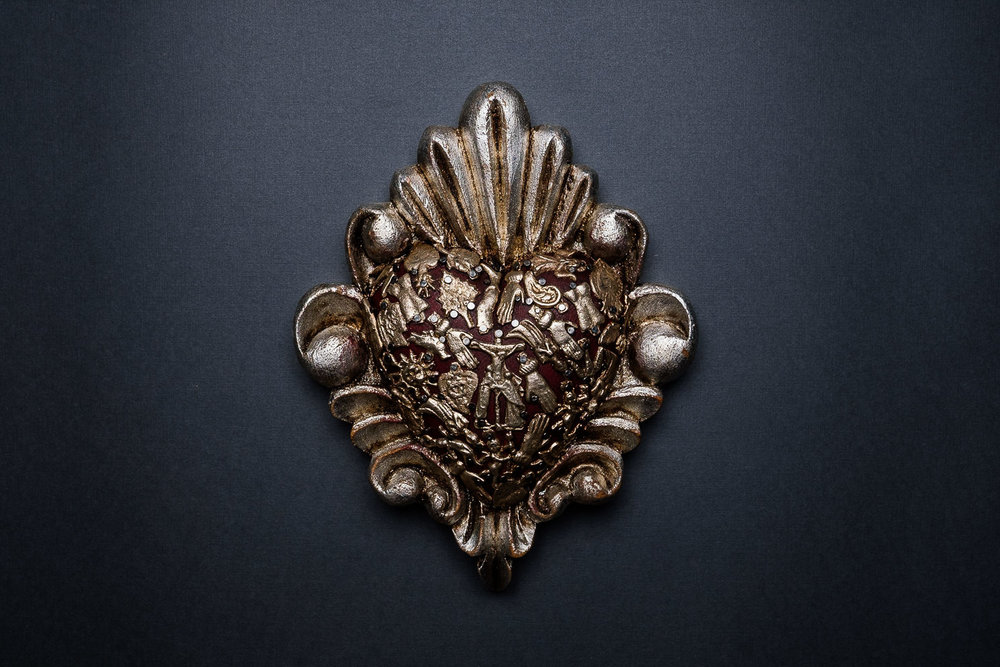 Wooden Sacred Heart with  Milagro's