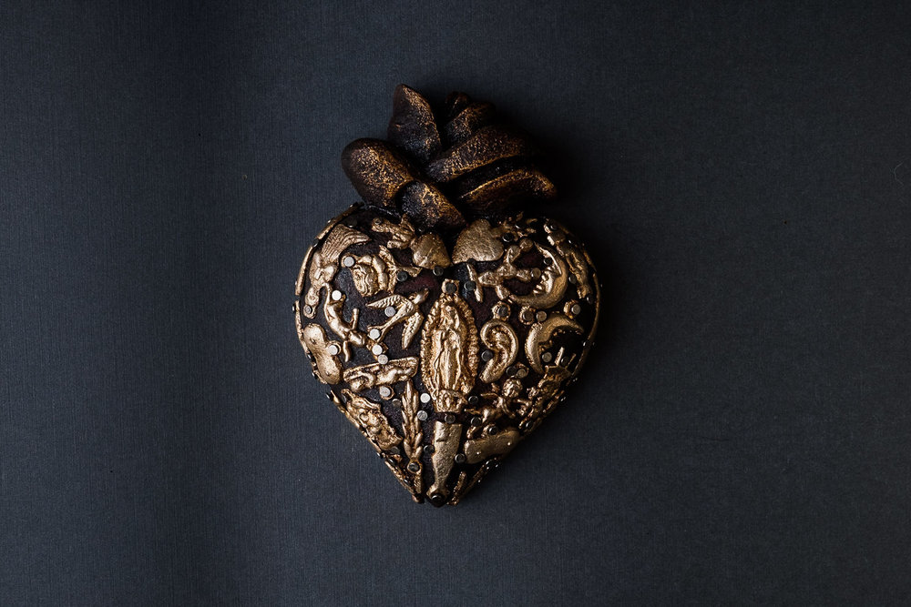 Wooden Sacred Heart with Milagro Charms Featuring Virgen de Guadalupe
