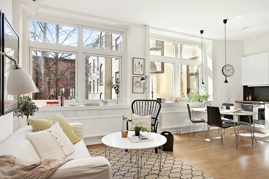Contemporary Modern Apartment Contrasting Colors And