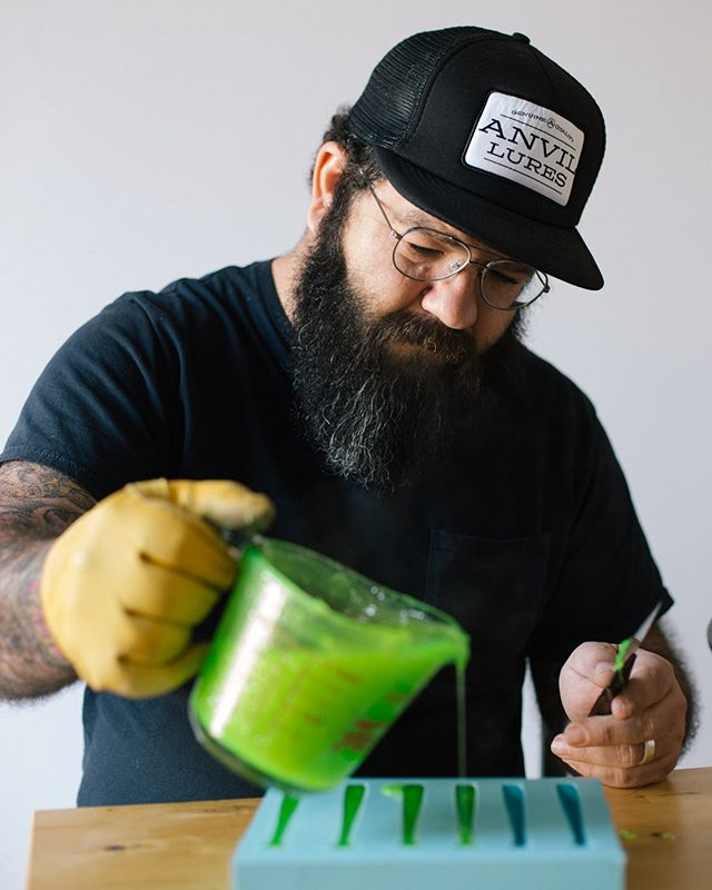 Josh Wool mixing up his hot plastic potion and pouring out the @anvillures. I shot these while reporting a story for the Times. Link and more pics on the site. #fishing #brooklyn #handmade #nyc