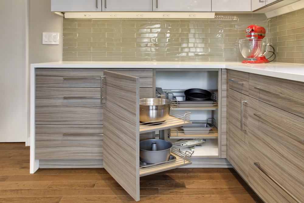 Magic corner pull-out cabinet is the new & improved lazy susan.  Great storage for small appliances or pots & pans.
