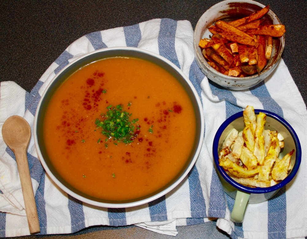 Cinnamon Butternut Soup, Sweet Potato & 3 Way Celeriac Fries Combo