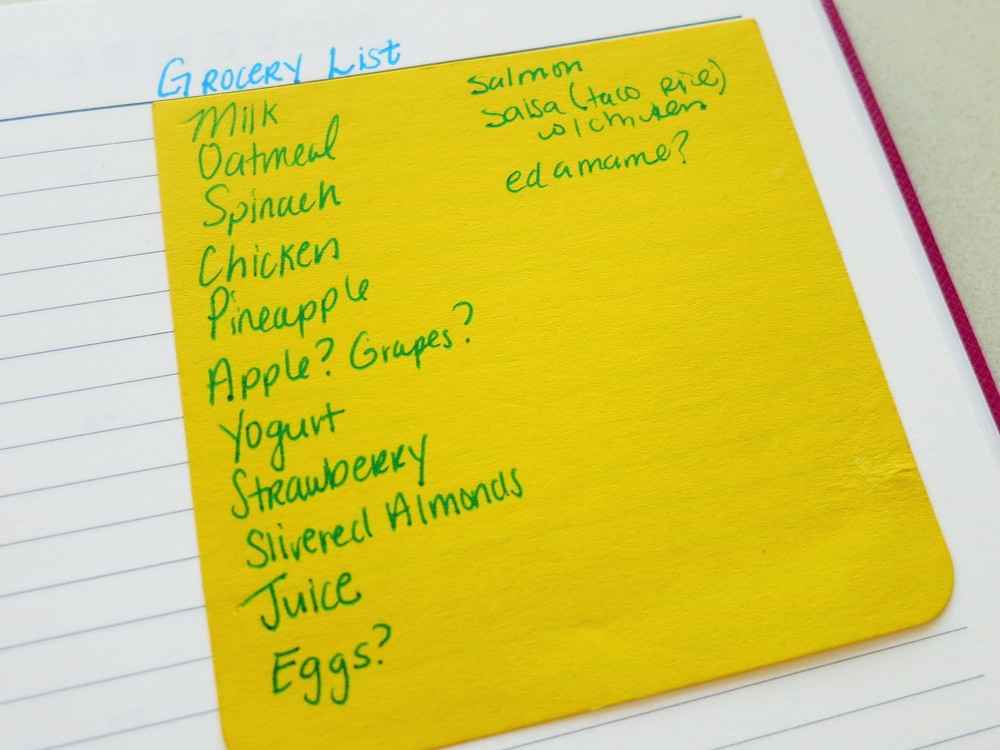 This is my grocery list for the week.  The ?'s means I'll look to see if those items are on sale because I don't need them urgently for this upcoming week