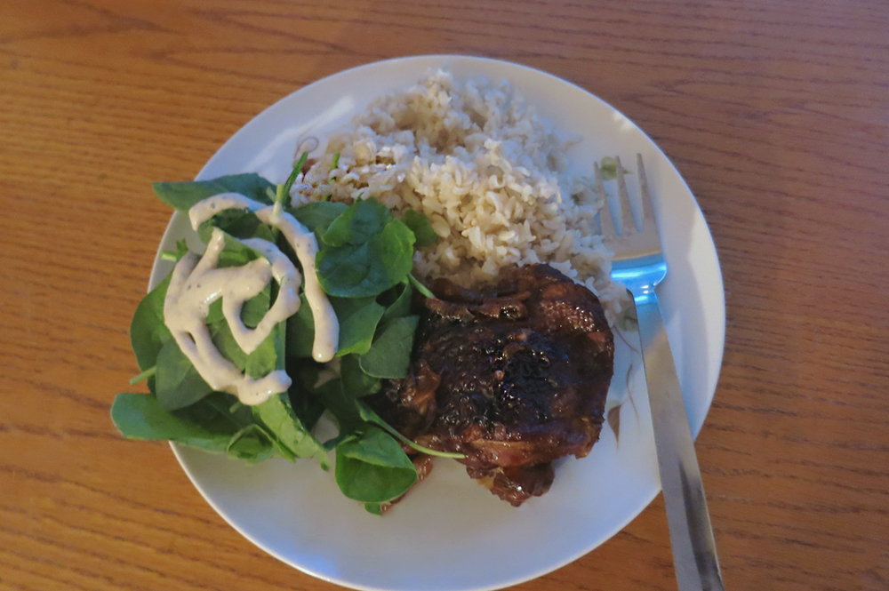 One of my main meals for the week: Filipino Chicken Adobo w/ Brown Rice, and Spinach Salad