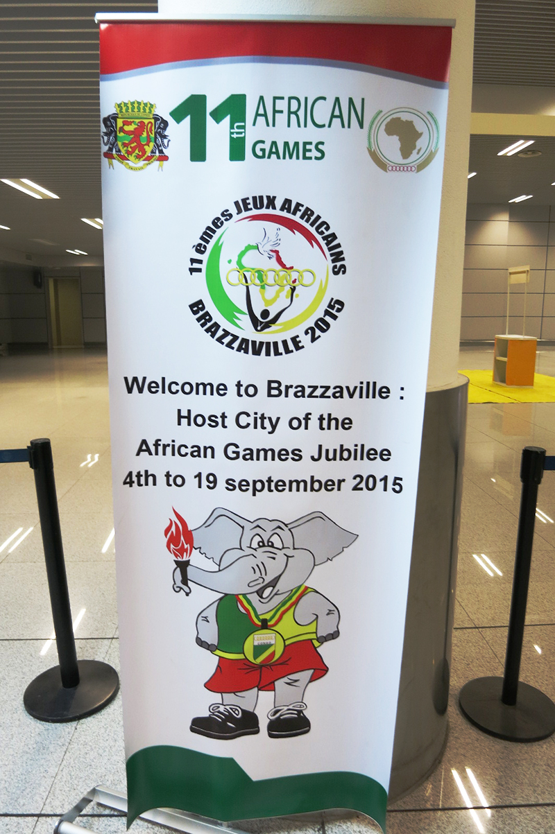 A welcome banner at the Brazzaville airport.
