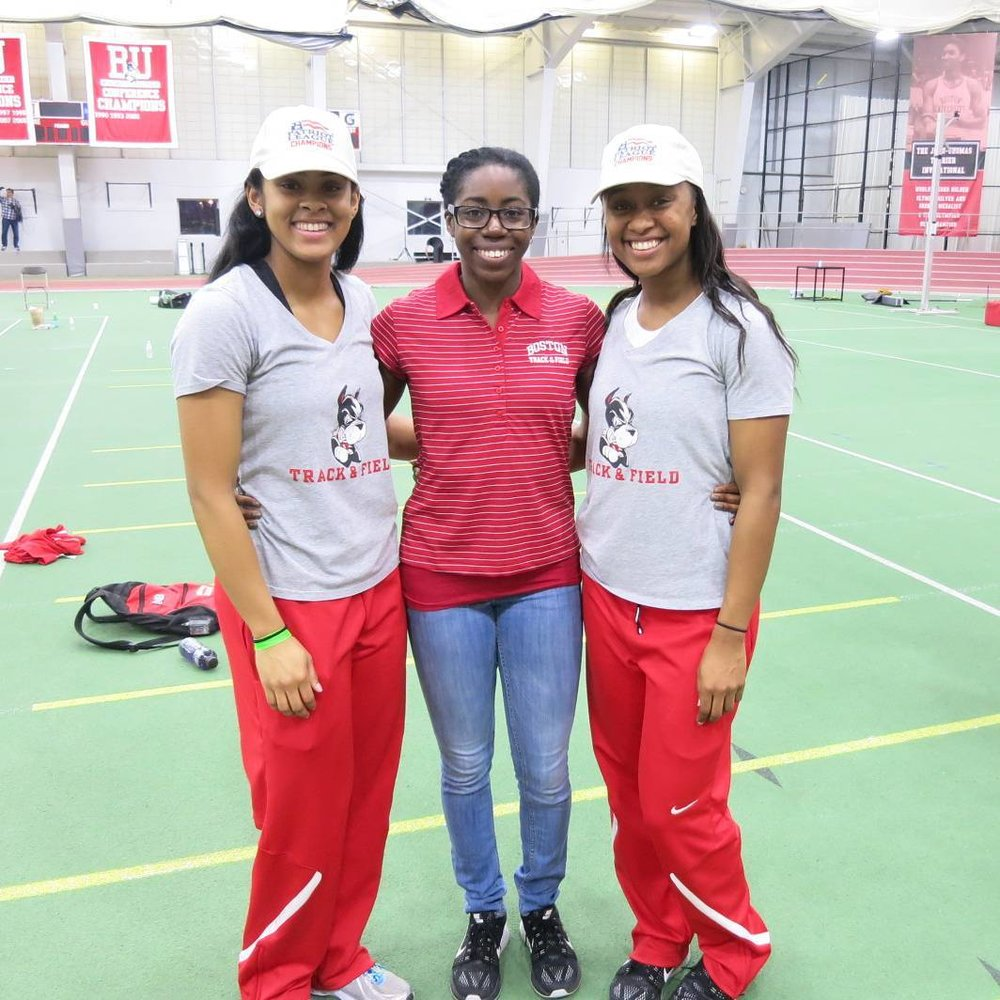 Maya, Ebony, and I at Patriot League Indoor Championships 2016