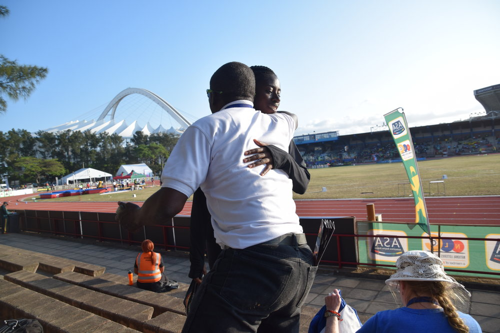 Prof. Francis Dodoo and I after my 100 meter final in Durban