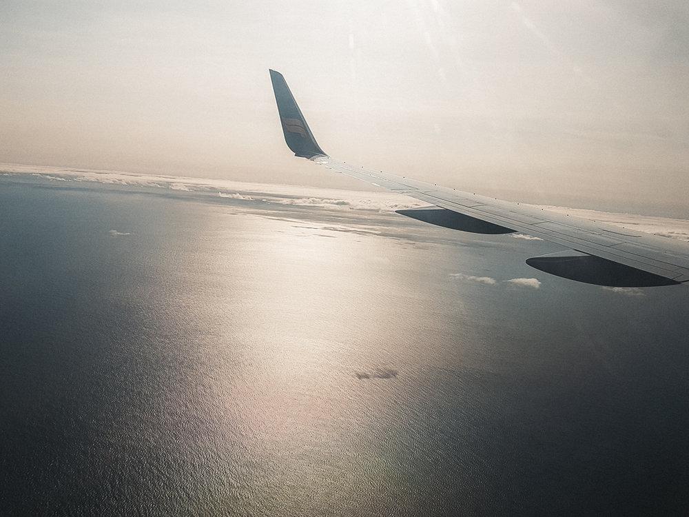 Flying over Reykjavik, Iceland