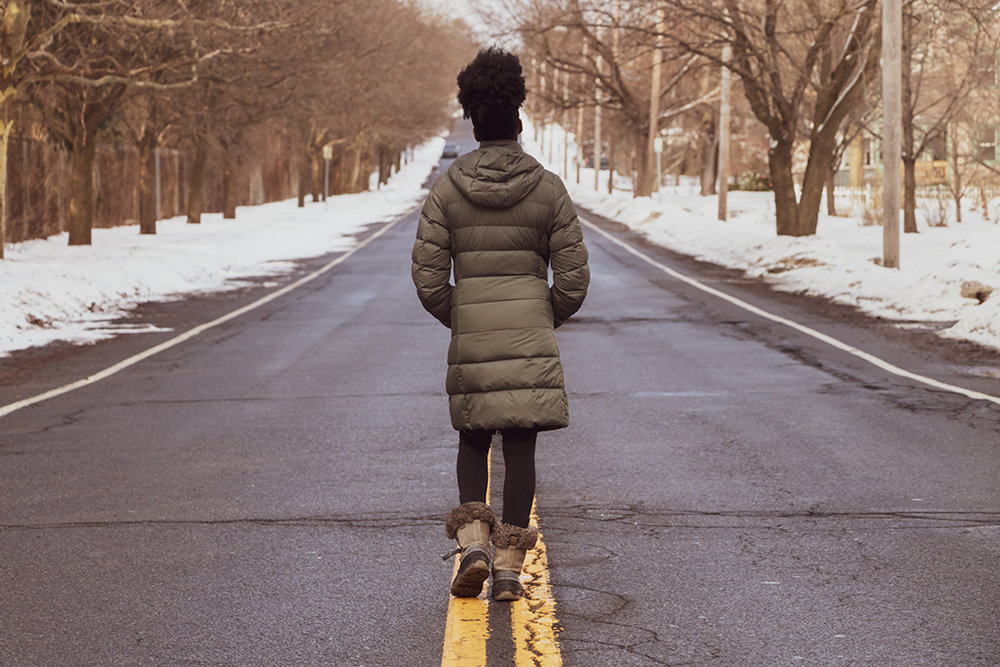 Gemma Acheampong walking in street