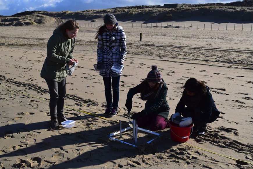 As part of their coursework, students do research on microplastics in Scheveningen.