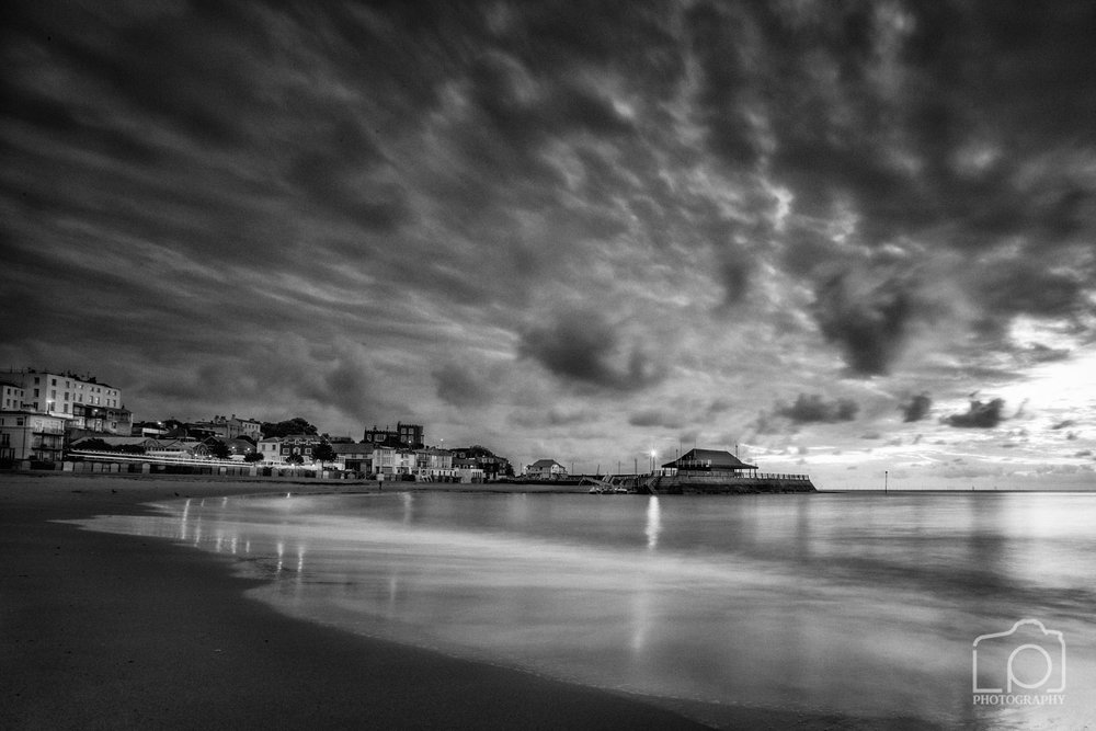 Viking Bay Broadstairs Sunset in Mono