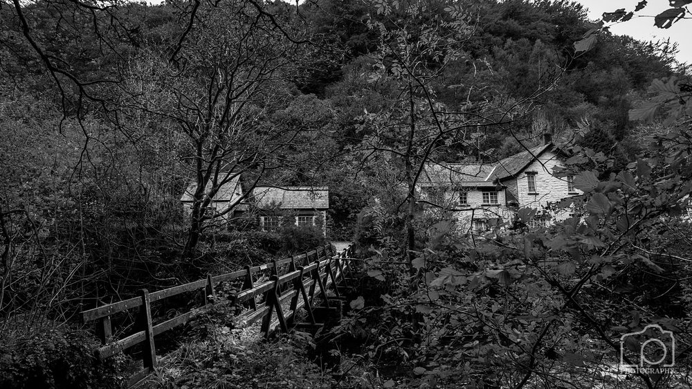 Footbridge over the East Lyn River on route to Watersmeet